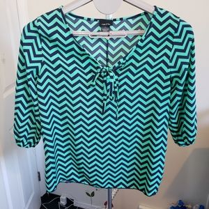 BOGO Rue21 chevron stripe green and navy wide top
